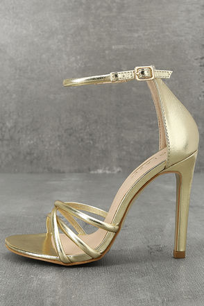 Michella Gold Metallic Ankle Strap Heels 1