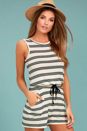 Olive & Oak Sally Black and White Striped Romper 1