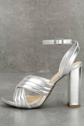 Genevieve Silver Ankle Strap Heels 1