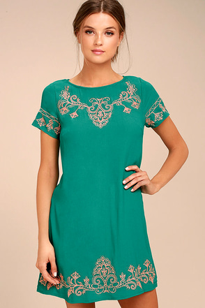 Tale to Tell Pink and Teal Green Embroidered Shift Dress 1