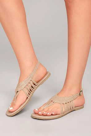 Sbicca Yanet Nude Leather Sandals 2