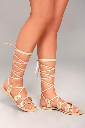 Glamorous Teagan Beige Lace-Up Sandals 1