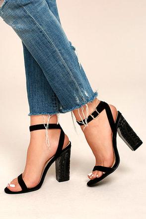 Mira Black Suede Ankle Strap Heels 1