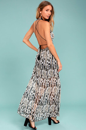 BB Dakota Willow Black Print Maxi Dress 1