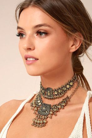 Dreams in Bali Gold Choker Necklace Set 2