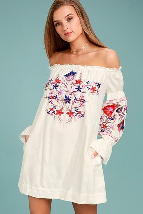 Free People Fleur Du Jour Cream Embroidered Dress 1