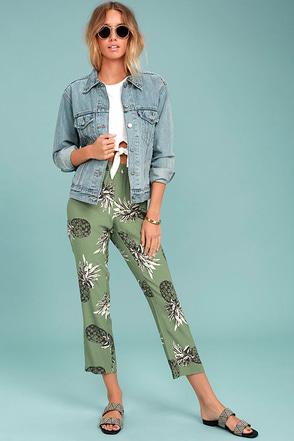 BB Dakota Issak Olive Green Pineapple Print Pants 1