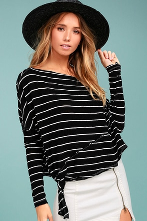 Free People Love Lane Black Striped Long Sleeve Top 2