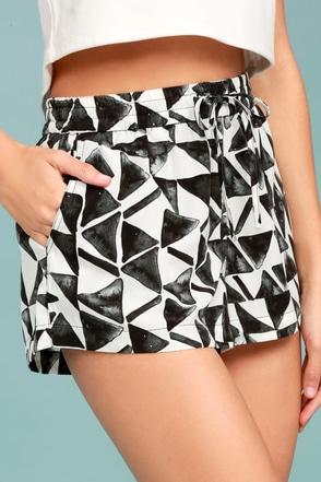 BB Dakota Franco White Print Shorts 1