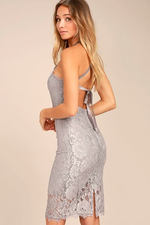 Wishful Wanderings Grey Lace Midi Bodycon Dress 1