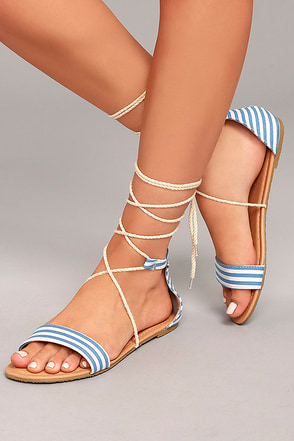 Issey Blue Lace-Up Sandals 4