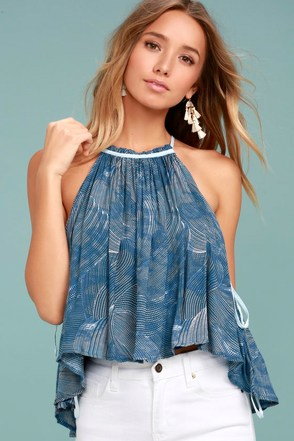 Free People Season in the Sun Blue Print Tank Top 1