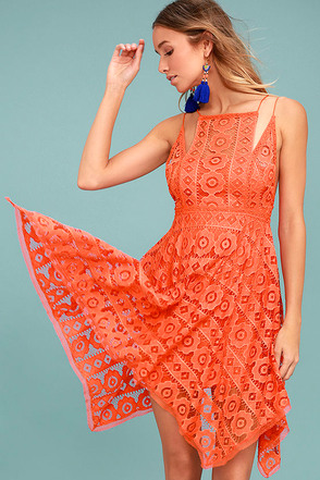 Free People Just Like Honey Coral Orange Lace Dress 1