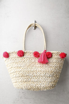 Byron Bay Beige and Pink Pom Pom Tote Bag 1