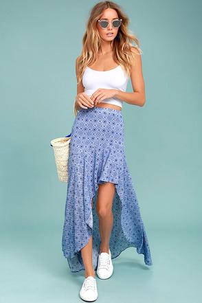 Mediterranean Beach Blue and White Print High-Low Maxi Skirt 1