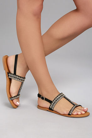 Brielle Black Rhinestone Sandals 4