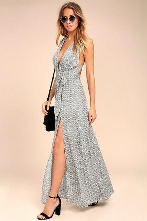 Casablanca Queen Black and White Print Maxi Dress 1
