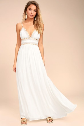 Giza White Embroidered Maxi Dress 1