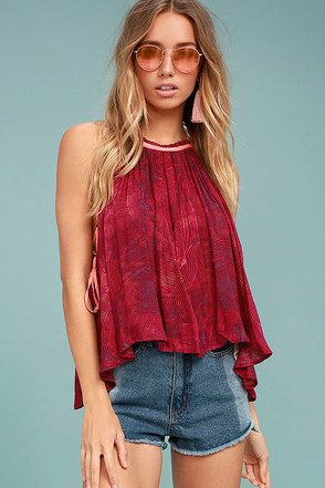 Free People Season in the Sun Red Print Tank Top 1