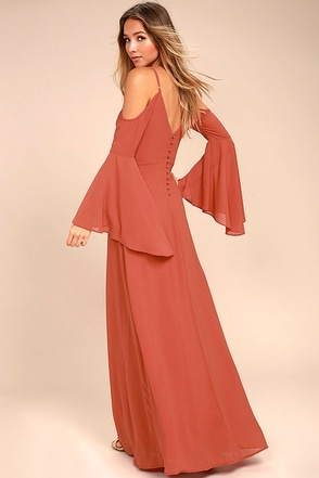 Glamorous Greeting Rusty Rose Maxi Dress 1