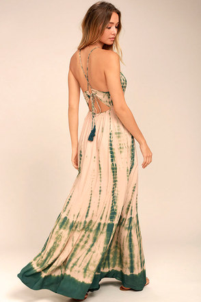 Desert Dame Green and Peach Tie-Dye Maxi Dress 1