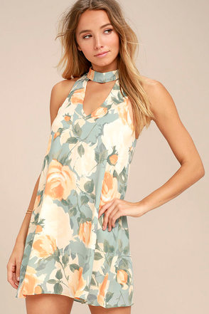 Part of Your World Dusty Sage Floral Print Swing Dress 1