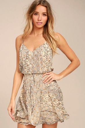 Tanis Beige Print Skater Dress 1