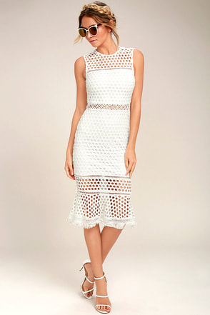 Dawn of Love White Crochet Lace Midi Dress 1