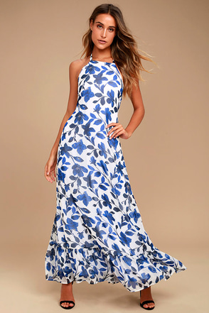 Meadow Meandering Blue and White Floral Print Halter Maxi Dress 1