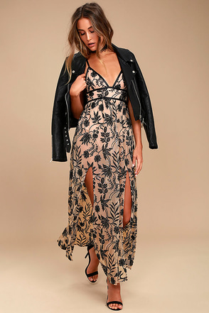 Somedays Lovin' Dusk Black and Nude Embroidered Maxi Dress 1