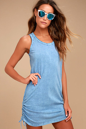 Olive & Oak Harmony Denim Blue Shift Dress 2