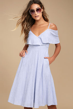 Yacht Rock Blue and White Striped Off-the-Shoulder Midi Dress 2