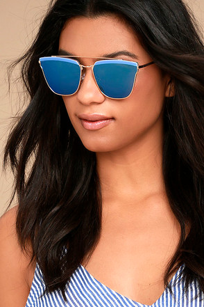 Starry Galaxy Gold and Blue Mirrored Sunglasses 3