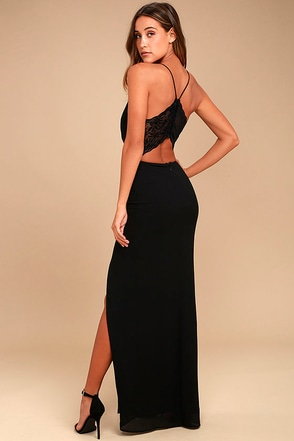 Story of a Starry Night Black Backless Lace Maxi Dress 2
