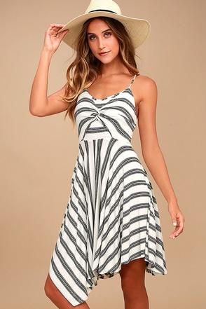 Olive & Oak Angela Black and White Striped Dress 1