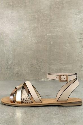 Laylani Beige Snake Print Flat Sandals 1