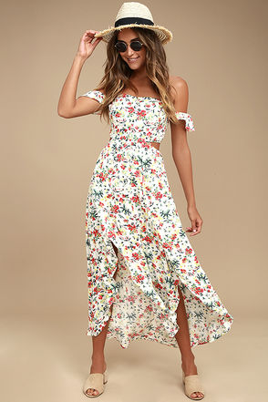 Easy on the Eyes Cream Floral Print Off-the-Shoulder Midi Dress 1