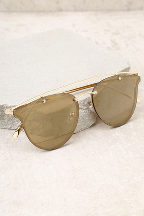 Love Me Better Gold and Yellow Mirrored Sunglasses 2