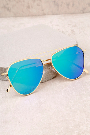 Keep Dancing Gold and Green Mirrored Aviator Sunglasses 2