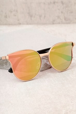 Modern Twist Rose Gold and Pink Mirrored Sunglasses 2