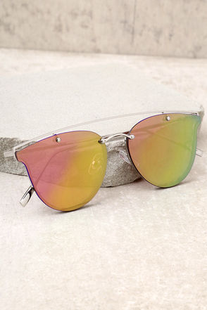 Love Me Better Silver and Pink Mirrored Sunglasses 1