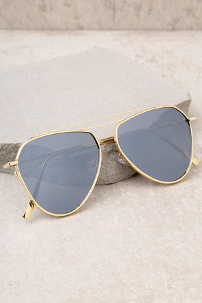 Keep Dancing Gold and Grey Mirrored Aviator Sunglasses 2