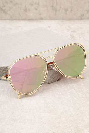 Hello Hot Stuff Gold and Pink Aviator Sunglasses 2
