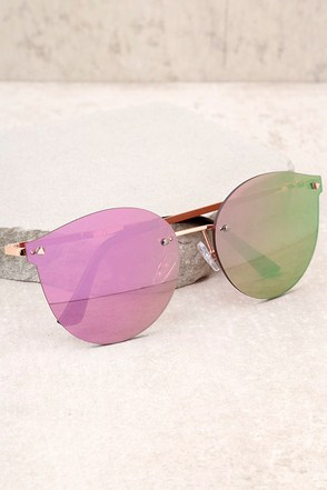 Candy Dreams Rose Gold and Pink Mirrored Sunglasses 2