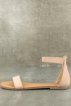 Wren Blush Suede Ankle Strap Sandals 1