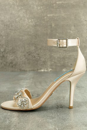 Blue by Betsey Johnson Gina Champagne Satin Ankle Strap Heels 1