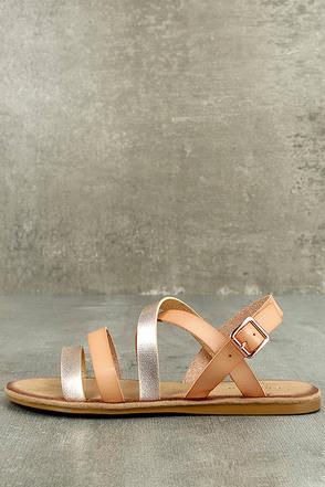 Haddie Blush Metallic Gladiator Sandals 1