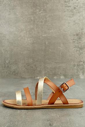 Haddie Tan Metallic Gladiator Sandals 1