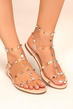 Josie Nude Lucite Studded Gladiator Sandals 4