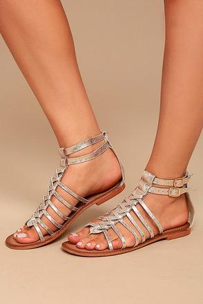Naughty Monkey Boardwalk Gold Leather Gladiator Sandals 4